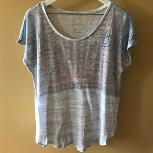 Lucky Brand Grey Graphic Aztec Top